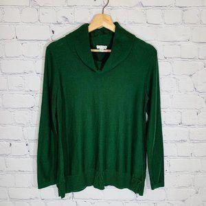 J. JILL Silk Blend Cowl Neck Green Sweater SP EUC